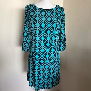 💟ENFOCUS Geometric Teal/Blk  Sheath Dress 12